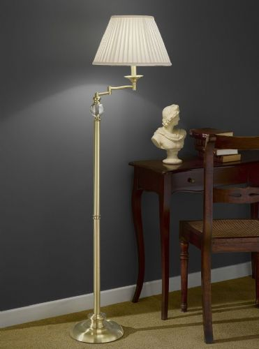 Franklite SL207 Satin Brass Floor Lamp (Class 2 Double Insulated)